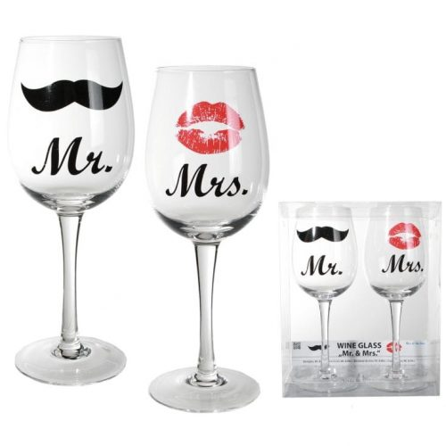 oob319 mr and mrs wine kiss and moustache glass